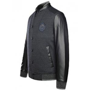 Cuir Patched Spliced ​​Snap bouton Up Jacket -