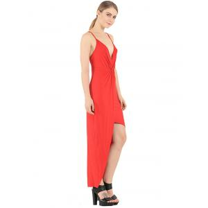 Plunge Knotted Slip Maxi Backless Club Dress - RED 2XL