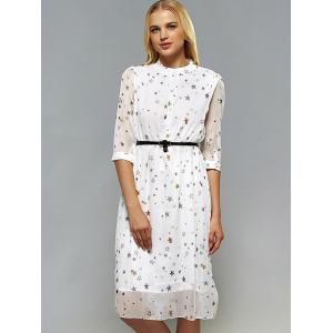 Star Pattern Belted Dress -