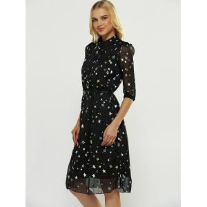 Star Pattern Belted Dress - BLACK S