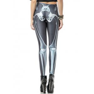 Skeleton Print Stretchy Leggings -