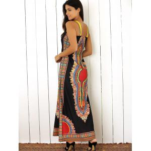 Tribal Print Color Block Maxi Dress -
