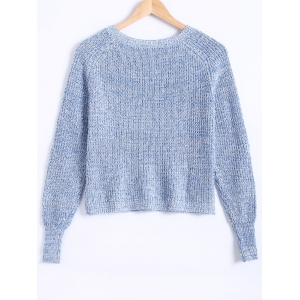 Round Neck Bishop Sleeves Heather Sweater -