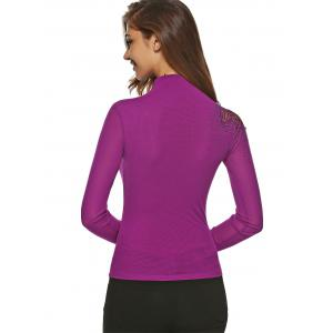 Embroidered Sheath T Shirt - PURPLE 3XL