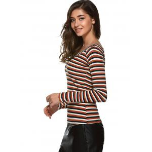 Pullover Bodycon Striped T Shirt -