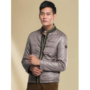 Pied de col Couleur Spliced ​​Down Jacket - Gris M