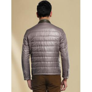 Pied de col Couleur Spliced ​​Down Jacket - Gris 3XL