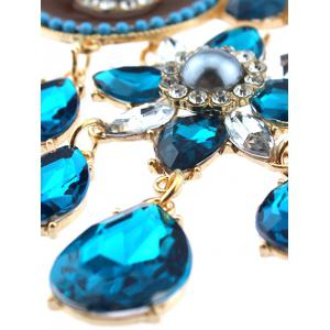 Faux Sapphire Water Drop Blossom Necklace - BLUE