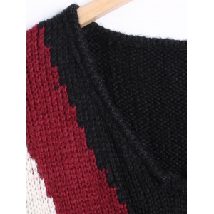 V-Neck Loose Fitting Color Block Sweater -