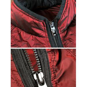 Geometric Quilted Wadded Jacket ODM Designer - DEEP RED M