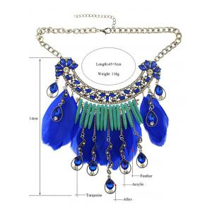 Faux Crystal Water Drop Feather Necklace -