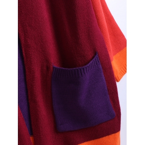 Color Block Pocket Design Knitted Cardigan -