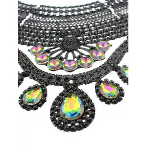 Faux Crystal Hollowed Water Drop Necklace -