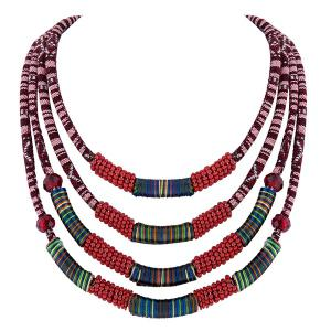 Winding Cloth Rope Layered Necklace -