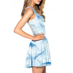 Print Fit and Flare Sleeveless Dress -