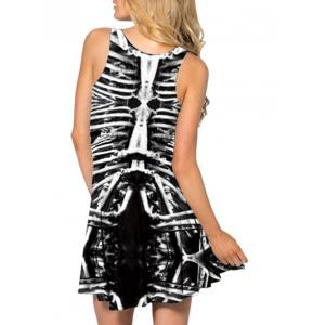 Skeleton Print Mini Racerback Tank Dress -