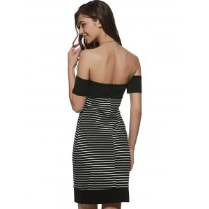 Striped Off The Shoulder Night Out Dresses - BLACK XL