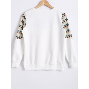 Zig Zag Hollow Out Crochet Sweatshirt -