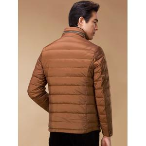Stand Collar Geometric Padded Jacket ODM Designer - BROWN 3XL