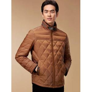 Stand Collar Geometric Padded Jacket ODM Designer - BROWN L