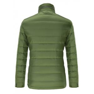Stand Collar Geometric Padded Jacket ODM Designer - GREEN XL