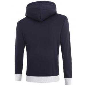 Hooded Color Block Spliced Fleece Long Sleeve Hoodie -