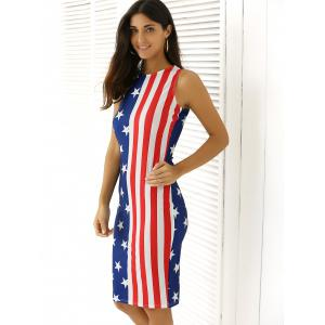 Slimming Flag Print Sleeveless Dress -