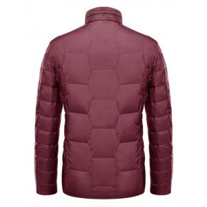 Zipper-Up géométrique Motif Down Jacket - Rouge M