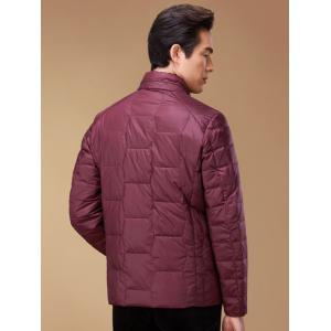 Zipper Up Geometric Padded Jacket ODM Designer - RED 2XL