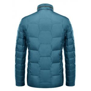 Zipper-Up géométrique Motif Down Jacket - Bleu XL