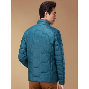 Zipper Up Geometric Padded Jacket ODM Designer - BLUE M