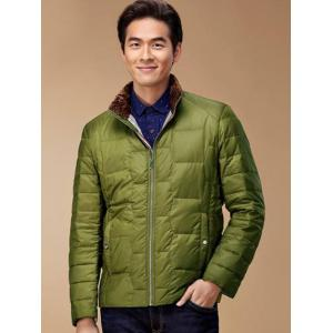 Zipper Up Geometric Padded Jacket ODM Designer - GREEN S