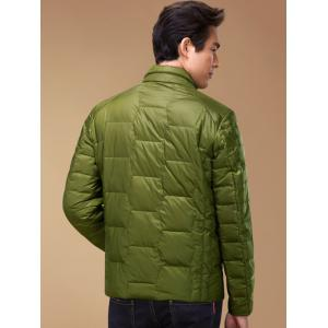 Zipper-Up géométrique Motif Down Jacket - Vert 2XL