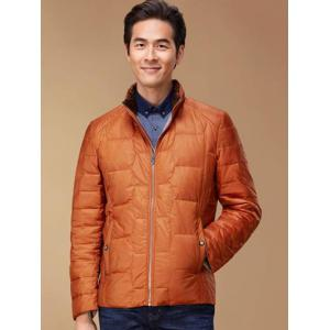 Zipper Up Geometric Padded Jacket ODM Designer - ORANGE S