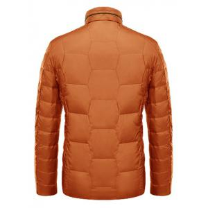 Zipper Up Geometric Padded Jacket ODM Designer - ORANGE L