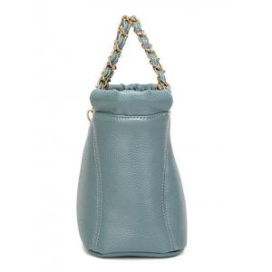 PU Leather Metal Chains Tote Bag - BLUE
