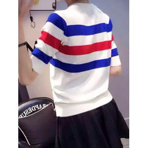 Colorful Striped 1/2 Sleeve T-Shirt -