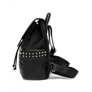 Rivets Drawstring Zipper Backpack -