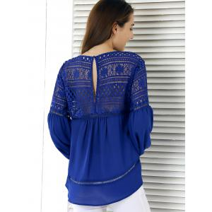 Lace Splicing Lantern Sleeve Hollow Out Blouse -