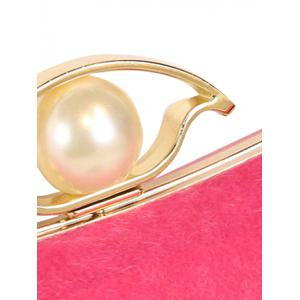 Chain Faux Pearl Metal Evening Bag - ROSE MADDER