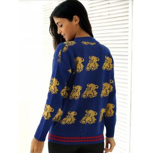 Bear Print Buttoned Knitted Cardigan -