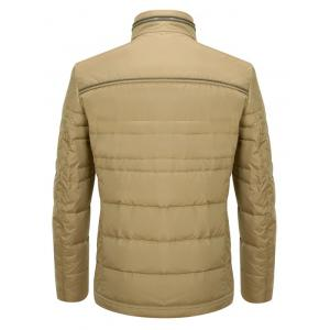 Zipper Button Closure Stand Collar Padded Jacket ODM Designer - KHAKI XL