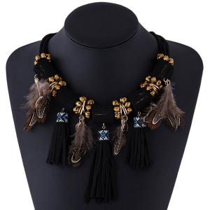 Faux Leather Tasseled Necklace -