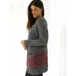 Heathered Patterned Jacquard Long Knitwear - RED ONE SIZE