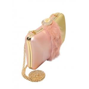 Faux Fur Rhinestone Chains Evening Bag -
