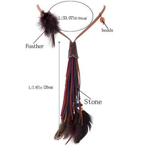 Feather Faux Leather Tasseled Necklace -