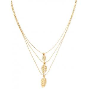 Multilayered Alloy Leaf Pendant Necklace -