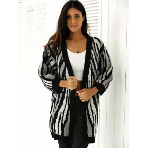 Loose-Fitting Striped Puff Sleeves Cardigan - WHITE/BLACK ONE SIZE