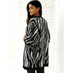 Loose-Fitting Striped Puff Sleeves Cardigan - WHITE AND BLACK ONE SIZE