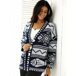 Bicolor Buttoned Tribal Print Knitted Cardigan -